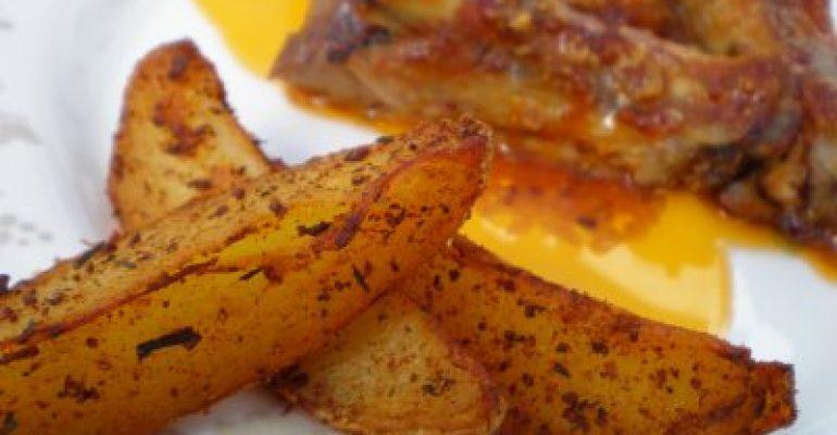 Chuletas a la barbacoa con patatas